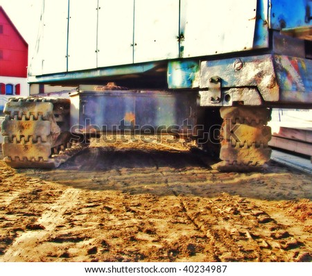 photo of the giant tracked crane HDR - stock photo