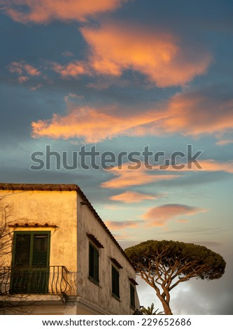Photo of the house in Anacapri on the island of Capri - stock photo