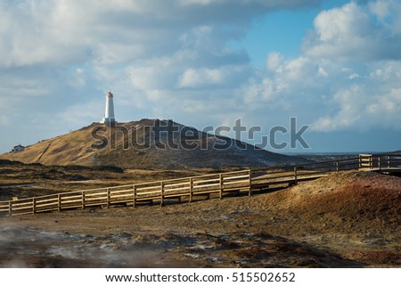 Photo of the Lighthouse on Reykjanes peninsula in Iceland during winter