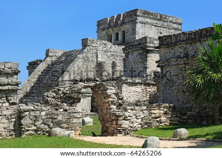 Photo of the Mayan ruins in Tulum Mexico.