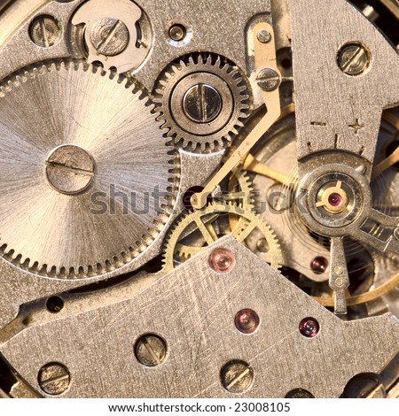 Photo of the mechanism of a watch