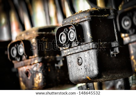 photo of the old electric switch - stock photo