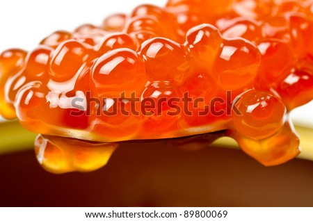 Photo of the red caviar on a spoon on caviar background.