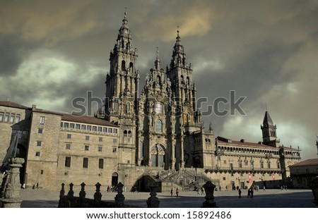 "photo of the Saint James Cathedral, the end of the ""Way of Saint James"". in Santiago de Compostela - stock photo"