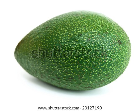 Photo of the single green avocado against the white background