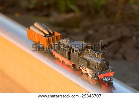 Photo of the train drive to rail and cartridges - stock photo