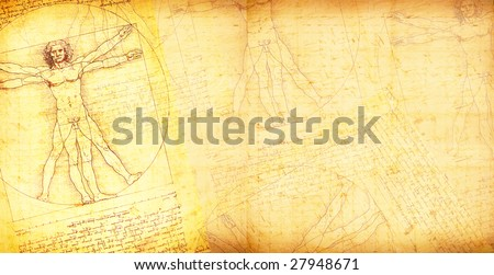 Photo of the Vitruvian Man by Leonardo Da Vinci - stock photo