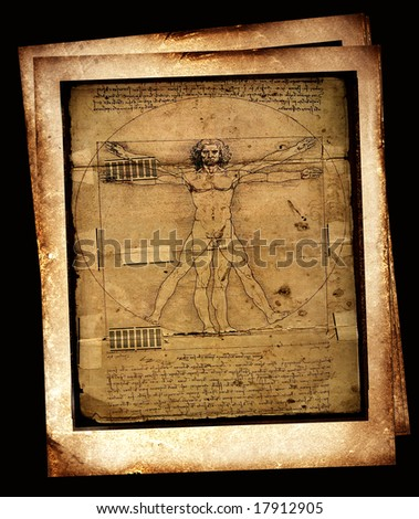Photo of the Vitruvian Man by Leonardo Da Vinci from 1492 on textured background - stock photo