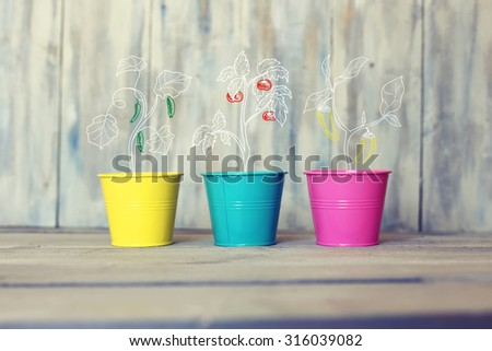 Photo of three multi colored pails with drawn vegetables - stock photo