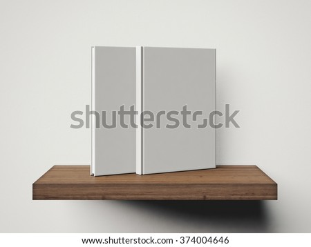 Photo of two blank white books on the shelf. 3d render - stock photo