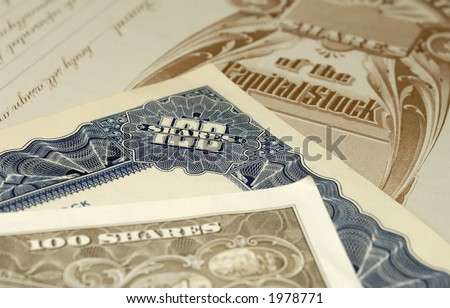 Photo of Various Stock Certificates - Financial Concept - stock photo