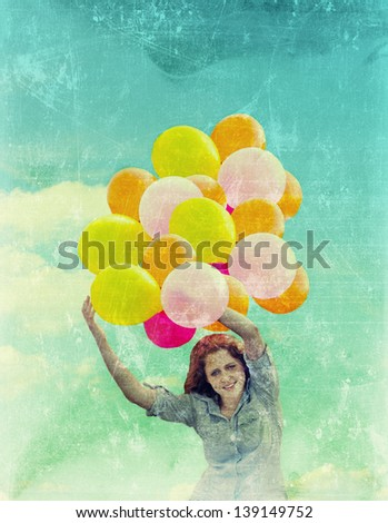 Photo of Vintage Filter Balloons  Girl on blue sky background