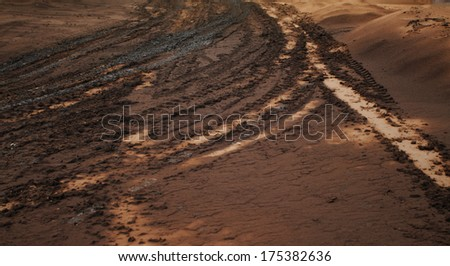 Photo of wheels truck on the mud