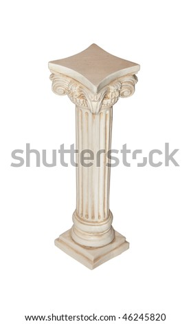 Photo of white column isolated on white background. Clipping path included. - stock photo