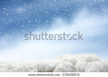 photo of winter snow and sky  - stock photo