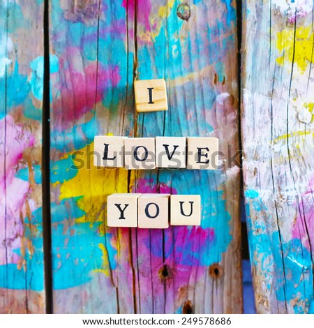 Photo of wooden block with word LOVE - stock photo