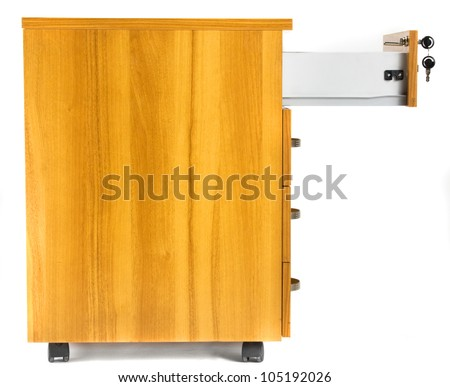 Photo of wooden cabinet on wheels with opened drawer - stock photo
