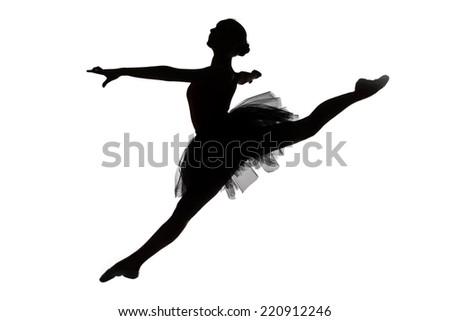 Photo of young ballerina in jump on white background - stock photo