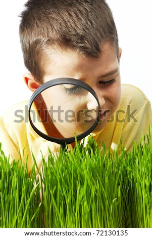 Photo of young boy looking at green grass through magnifying glass - stock photo