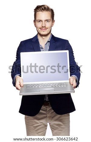Photo of young businessman giving his laptop with copy space.