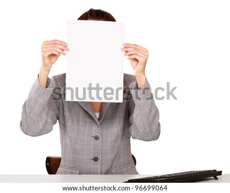 Photo of young girl covering her face with blank board,isolated on white background