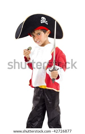Photo of Young Pirate on white background . - stock photo