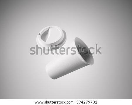 Photo open white paper take away coffee cup. Isolated on the light background. Ready for business info. Horizontal mockup. 3d rendering - stock photo