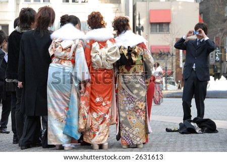 photo opportunity with friends (celebration on Coming of Age Day in Japan) - stock photo
