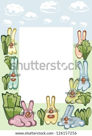 Photo or message frame with hares. Raster version, vector file available in portfolio. - stock photo