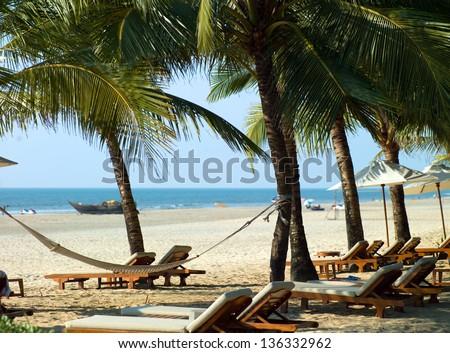 Photo perfectly beautiful beach Palolem in Goa in India - stock photo