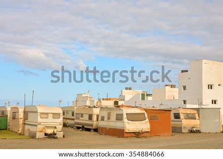 Photo Picture of a Caravan Park in the Desert - stock photo