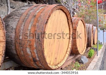 Photo Picture of a Classic Wooden Wine Barrel - stock photo