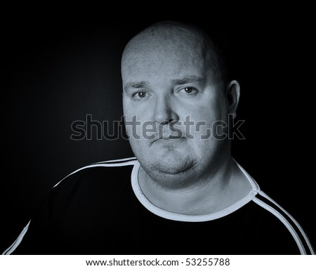 photo portrait close up of overweight male in his 30's - stock photo
