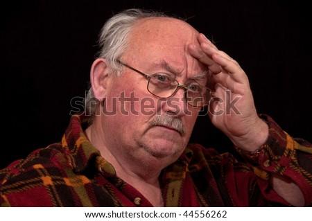 photo portrait of sick senior male - stock photo