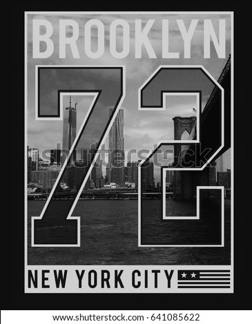 Photo print brooklyn bridge illustration tee stock illustration photo print brooklyn bridge illustration tee shirt graphics typography sport malvernweather Gallery