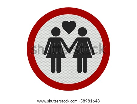 Photo realistic bright, clean 'female partners' sign, isolated on a pure white background - stock photo