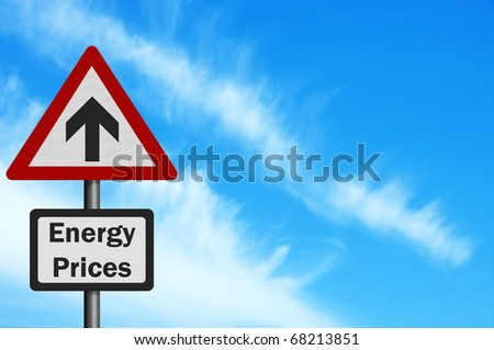 Photo realistic 'Energy Price Rise' sign, with space for text overlay - stock photo