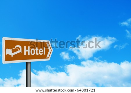 Photo realistic 'hotel'  tourist information sign, with space for your text / editorial overlay - stock photo