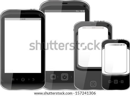 Photo-realistic illustration of different smart phones with copy space on the screen - isolated, raster - stock photo