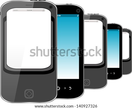 Photo-realistic illustration of different smart phones with copyspace on the screen - isolated, raster - stock photo