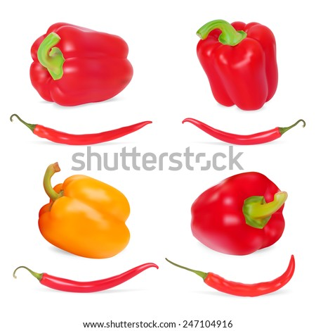 Photo-realistic Illustration. Set of Sweet Peppers - stock photo