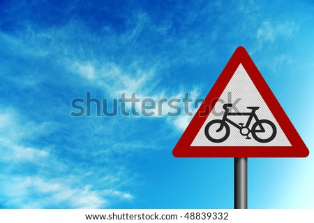 Photo realistic metallic reflective 'cycle route' sign, against a bright blue sky. With space for your text overlay / editorial - stock photo