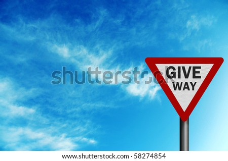 Photo realistic metallic reflective ' give way' sign, with space for your text / editorial overlay