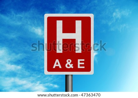 Photo realistic metallic reflective 'Hospital - Accident & Emergency' road sign, against a bright blue summer sky - stock photo