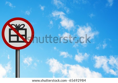 Photo realistic metallic, reflective ' no presents' sign, with space for your text / editorial overlay