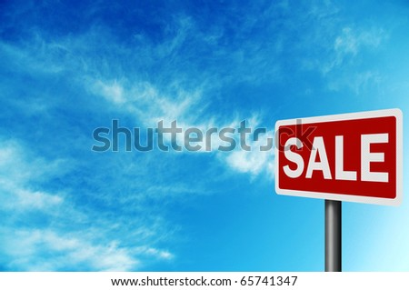 Photo realistic metallic reflective 'sale' road sign, with space for your text - stock photo