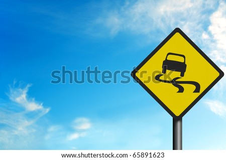 Photo realistic metallic reflective 'slippery road' sign, with space for your text - stock photo