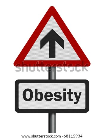 Photo realistic reflective metallic 'rising obesity' sign, isolated on a pure white background.