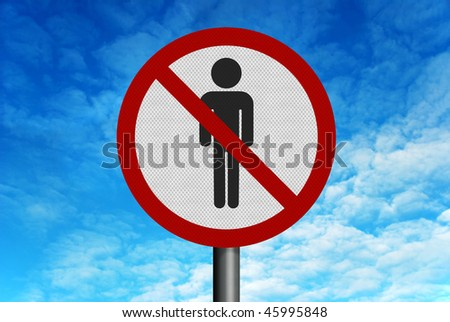 Photo realistic reflective metallic road sign, depicting 'no men', set against a bright blue sky - stock photo