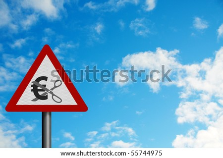 Photo realistic reflective metallic 'spending cuts' sign Euro version), with space for your text - stock photo